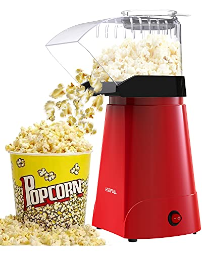 hamilton beach popcorn poppers HIRIFULL 1200W Hot Air Popcorn Poppers Machine, NO Oil, Household Electric Popcorn Maker with Measuring Cup, 3 Min Fast Popping, ETL Certified, Great for Home Movie TV, Party (Red)