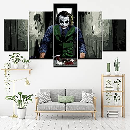 Cuadro de pintura en lienzo, película de Joker, Batman, 5 piezas, pintura de arte de pared, fondos de pantalla modulares, póster, impresión para sala de estar, decoración del hogar(size 1)