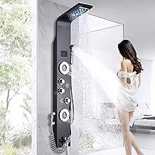 LED douchepaneel met bidet-functie van roestvrij staal met temperatuurweergave en 2 massagefuncties, kleur: zwart