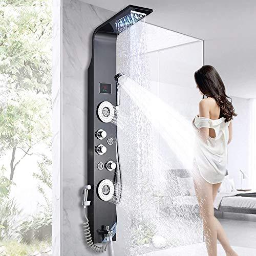 Pannello doccia a LED con funzione bidet in acciaio inox con indicatore di temperatura e 2 funzioni di massaggio, colore: nero
