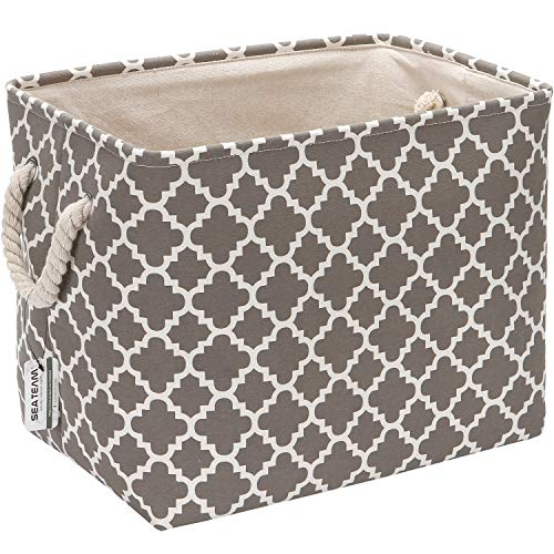 Sea Team Thickened Canvas Fabric Storage Basket with Cotton Rope Handles, Rectangle Storage Bin Organizer, 16.5 x 12 x 13 Inches, Grey