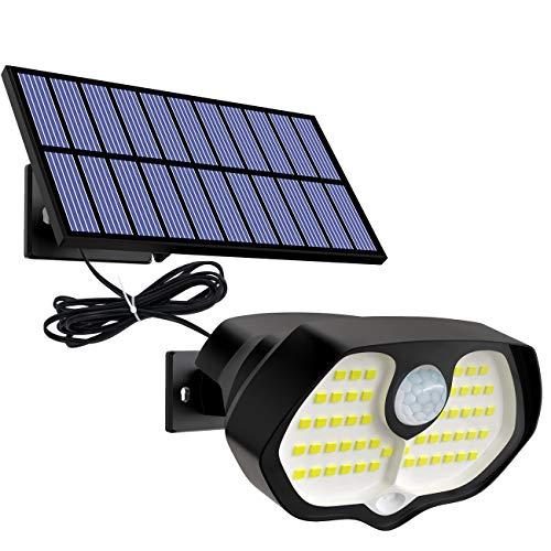 Solarlampen für Außen mit Bewegungsmelder, 3 Modi Solarleuchten für Außen 2200mAh 62LED Solar Strahler IP65 Wasserdichte Wandleuchte Einstellbarer Solarlampe Aussen mit 3M Kabel für Garten/Hof/Garage