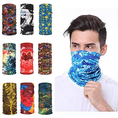 ZEFOTIM 9PCS Magic Scarf Outdoor Headwear Bandana Sport Tube UV Face Towel Workout Hiking