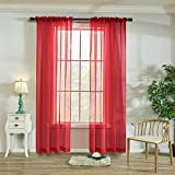Red Voile Sheer Curtains Light Filtering Rod Pocket Windows Treatment Panels Drapes 84 Inches Long for Living Room and Bedroom Solid Sheer Curtains 2 Pieces 52 X 84 Inch Length Red