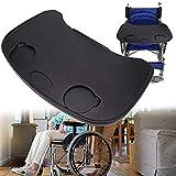 Rollstuhl-Tablett, absturz dicker Kunststoff, Universal Rollstuhl Runde Tabletttisch, geeignet für manuelle oder elektrischen Rollstuhl, Rollstuhl Tablett-Tische und Zubehör,Black -