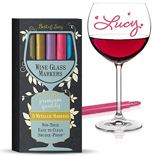 Wine Glass Markers (Metallic Colors 5 Pens Pack) Best Alternative To Wine Charms
