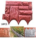 XHXMM 10 Piezas de Paneles de Valla de Efecto de Piedra de Jardín, Césped Plegable, Césped, Bordes de Plantas, Paisaje Decorativo, Paneles de Cercado de Protección de Senderos,Rojo