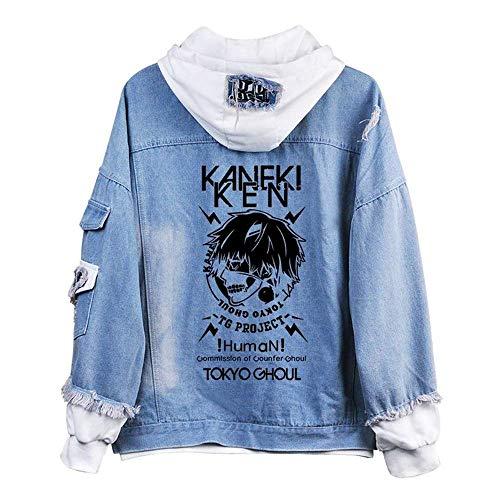 RAIN Unisex Tokyo Ghoul Denim Jacket Kaneki Ken Cosplay Costume Outerwear Hooded Sweatshirt Jacket