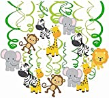 Comius Sharp 30 Piezas Salvaje Selva Animal Colgar Decoraciones, Remolino Adornos de espirales para Niños Cumpleaños Fiesta
