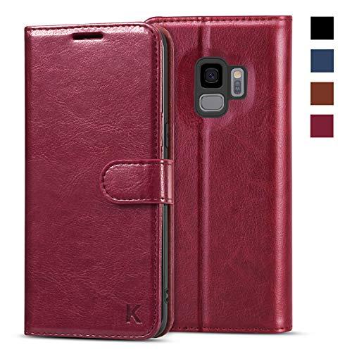 KILINO Samsung Galaxy S9 Hülle [PU Leder][RFID Blocker][Schützt vor Stößen][Kartenfach][Standfunktion] Handyhülle Klapphüllen Handytasche Schutzhülle Lederhülle Flip Cover Case (Weinrot)