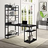 SSLine Computer Home Office Desk, 54 Inch Modern Computer Desk with Shelves,Writing Desk Study Writing Table with 5 Tier Open Bookshelf,PC Laptop Study Table Workstation for Home Office