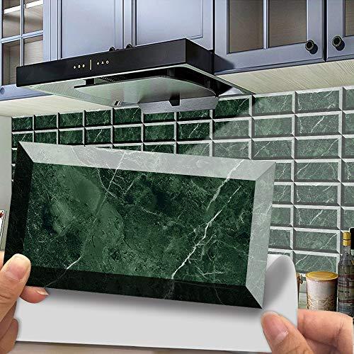 Hiseng 12 Piezas Adhesivos Decorativos para Azulejos Pegatinas para Baldosas del Baño/Cocina Impresión de mármol 3D Resistente al Agua Pegatina de Pared (Mármol Esmeralda)
