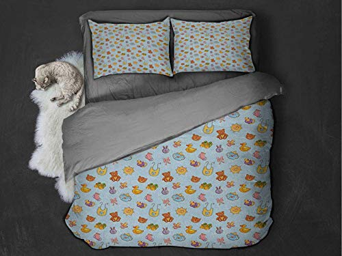 Baby Comfort Luxurious Softest Premium Bed Sheet Set Newborn Sun Teddy Bear Ribbon Feeder Pacifier Chick Kitty Cat Design Anti-wrinkle and anti-fading (King) Pale Blue Cinnamon Apricot