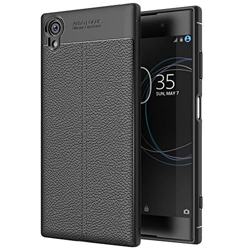 ebestStar - kompatibel mit Sony Xperia XA1 Plus Hülle XA1 Plus/Dual Lederhülle Design TPU Handyhülle Schutzhülle, Flex Silikon Hülle, Schwarz [Phone: 155 x 75 x 8.7mm, 5.5'']