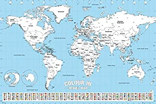 Color in Travel World Map - Poster/Print (Color Your Visited Countries) (Size: 36 inches x 24 inches)