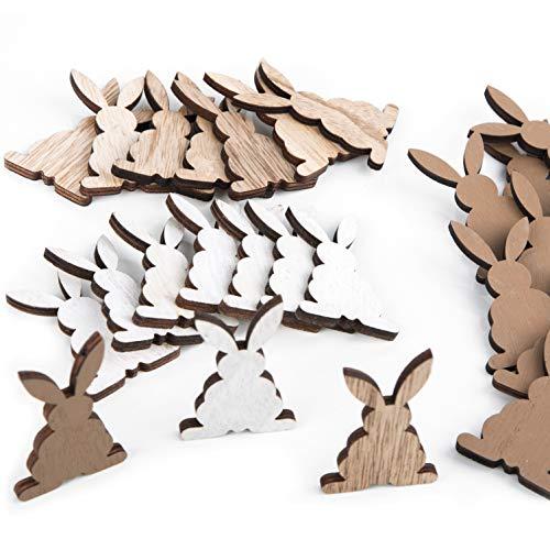 Logbuch-Verlag - 24 piccoli coniglietti pasquali in legno per decorazione, 6,5 cm, in bianco, naturale e marrone