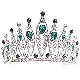 kliy Krone Mädchen Barock Haar Krone Für Braut Silber Kristall Accessoires Strass Handgefertigte Braut Krone Tiara Hochzeit Haar Accessoires-B.