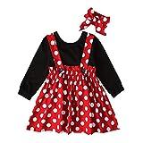 Recién Nacido Infantil Bebé Niña Disfraz de Minnie Mouse Camisa de Algodón Manga Corta Lunares Falda de Tirantes Diadema 3pcs Set para Fiesta Cumpleaños Carnaval Navidad Halloween Rojo 04 3 Años