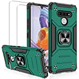 Compatible with LG Stylo 6 Case with [2 Pack] Tempered Glass Screen Protector, Jshru [Military-Grade] Protective Armor Phone Case with Magnetic Ring Kickstand for LG Stylo 6, Green