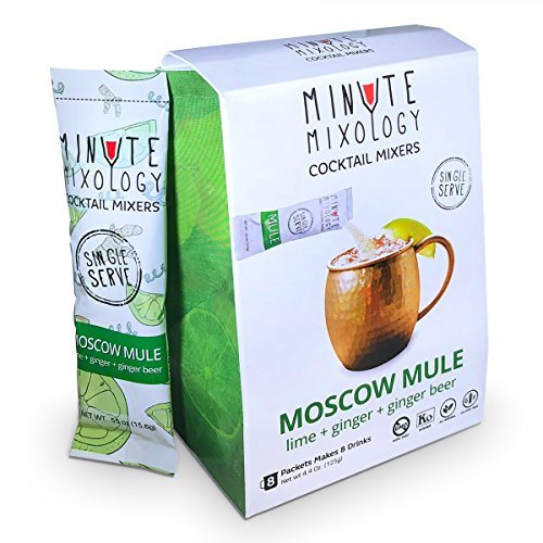 Minute Mixology Cocktail Mixers - Low Calorie, All Natural Ingredients - Drink Mix for Liquor/Spirits and Non-Alcoholic Beverages (Moscow Mule, 16 Packets)