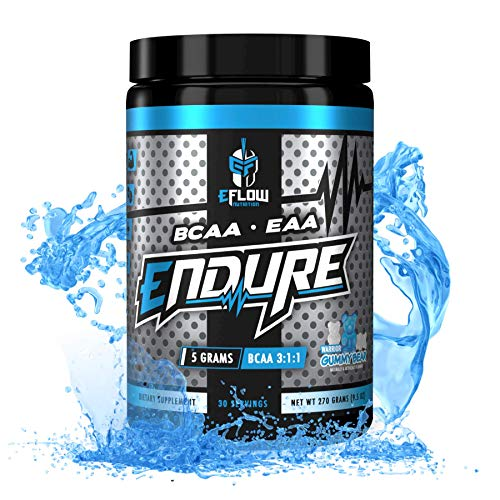 eFlow Nutrition Endure BCAA Plus EAA - Essential Amino Acids Electrolyte Powder Intra Workout - Improve Energy, Recovery and Performance - Warrior Gummy Bear(30 Servings)