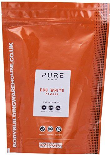 Bodybuilding WarehousePure Egg White Protein Powder, Paleo, Keto, 24g Protein Per Serving, White, Unflavoured, 500 g