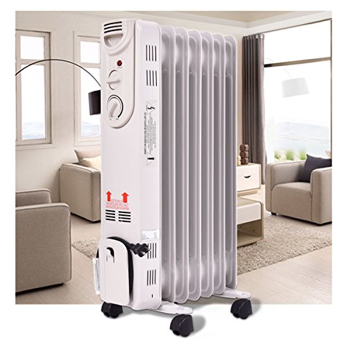 1500W Electric Oil Filled Radiator Space Heater 5-Fin Thermostat Room Radiant Heater Oil Space