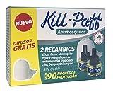 Kill Paff - Insecticida Eléctrico Antimosquitos, Eficaz Contra Mosquito Tigre y Transmisores de Enfermedades Tropicales, Difusor, 90 Noches de Protección (Contenido: 1 difusor + 2 recambios)