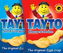 Tayto Cheese & Onion/Salt and Vinegar Crisps from Ireland (24 x 25g packs - 12 each flavour)