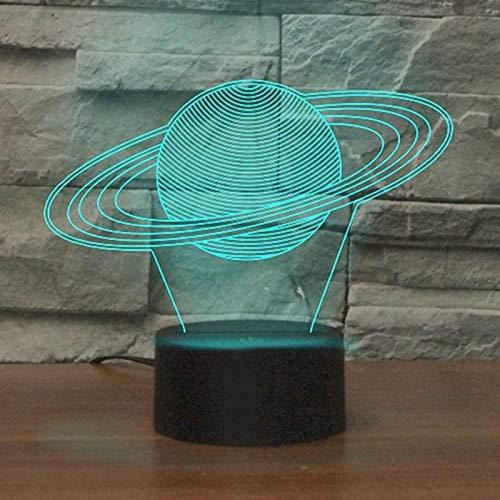 Dekorative Lichter, kreative Saturn-Form, 3D-LED-Beleuchtung, Tischlampe, Riss-Fernbedienung