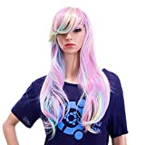 SWACC 26-Inch Long Curly Wave Cosplay Synthetic Wig Mixed Colorful Highlights
