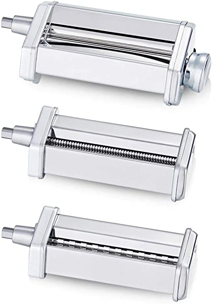 3 Piece Pasta Roller Cutter Attachment Set Compatible With KitchenAid Stand Mixers Included Pasta Sheet Roller Spaghetti Cutter Fettuccine Cutter Maker Accessories And Cleaning Brush