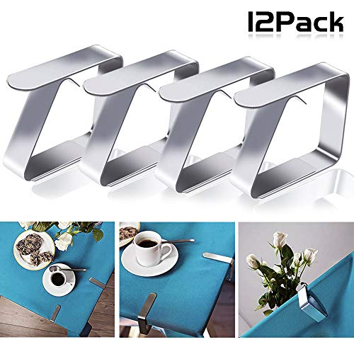 Nakeey 12pcs Edelstahl Tischdeckenklammer Garten Tischdeckenhalter Tischtuchhalter Tischtuchklammern Tischtuch Clips Geeignet für Desktop Zum Klammer Befestigen der Tischdecke