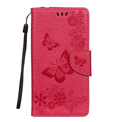LAGUI Cover Adatto per Samsung Galaxy A6 2018, Custodia a Portafoglio Fine ed Elegante Floreale con la Farfalla, con Sportellino Clip Sicurezza Magnetica e Porta Carte, e Dotata di Cordino. rosso