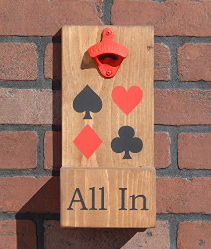 Poker Themed All In Wall Mount Wood Bottle Opener