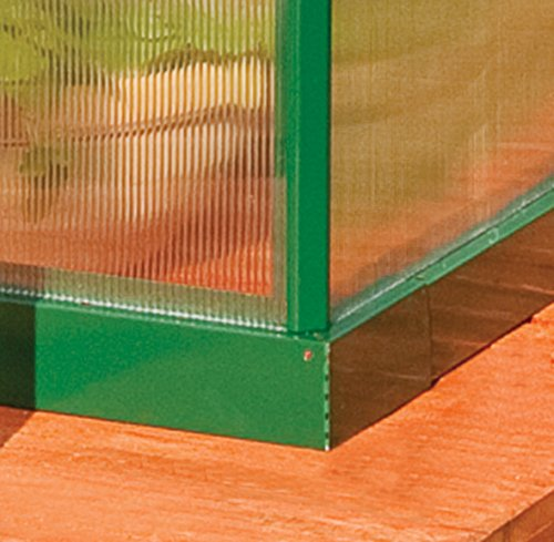 Palram HG5005G Mythos Hobby Greenhouse, 6' x 4' x 7', Forest Green 4 Dimensions: 6' x 10' x 7' Virtually unbreakable 4 mm twin-wall polycarbonate panels block up to 99.9% of UV rays and diffuse sun light eliminating the risk of plant burn and shade areas Includes adjustable roof vent, rain gutters, lockable door handle with magnetic door catch and a galvanized steel base for structural support