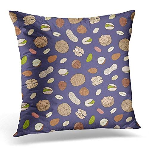 Funda de cojín de 50 x 50 cm, sin cáscara y nueces enteras, almendras, pistachos, avellanas, frutos secos, decoración del hogar, funda de almohada cuadrada para sofá cama