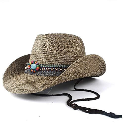 SSHZJUS Paja Hueco Occidental del Sombrero de Vaquero Vaquera de Verano de la Iglesia Jazz Sombrero con Flecos Cinta del Sombrero de Paja del Casquillo de Sun Beach Gentleman