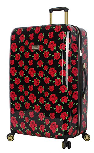Betsey Johnson 30 Inch Checked Luggage Collection - Expandable Scratch Resistant (ABS + PC) Hardside Suitcase - Designer Lightweight Bag with 8-Rolling Spinner Wheels (Covered Roses)