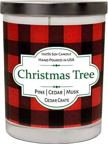Christmas Tree Scented Candle | Buffalo Plaid Candle Jar | 100% Soy Candle Scented with Pine, Cedar, Musk | Hand Poured in The USA | Long Lasting Candles Gift | Candle Gift for Women and Men