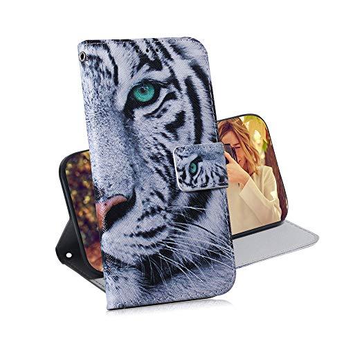 COTDINFOR Huawei Y6 2019 Hülle Kreativ Art Painted cool Schutzhülle PU Leder Flip Bookcase Handy Tasche Schale mit Magnet Standfunktion Etui für Huawei Honor 8A / Y6 2019 Green-Eyed Tiger TX-CH.