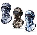 Freesom Lot de 3 Cagoule Adulte Femm Homme Moto Camouflage Militaire Commando Bonnet Polaire Style Tour de Cou Couvre-Chef Chapeau Casquette Casque Mode Sport Velo Elastique Cadeau Pas Cher (Blanc)