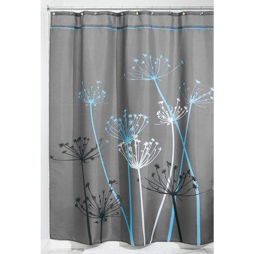 iDesign Thistle Duschvorhang | 180,0 cm x 200,0 cm großer Badewannenvorhang | waschbarer Duschvorhang aus weichem Stoff | mit Blumen-Motiv | Polyester grau/blau