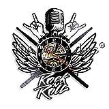 Nfjrrm Rock micrófono Heavy Metal música Disco de Vinilo Reloj de Pared con iluminación LED Rock Wings lámpara de Pared Moderna 30x30cm