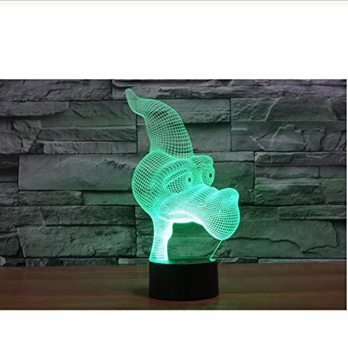 mujer 2019 Cute Cartoon Dinosaur Pterosaur Head 3D USB Lamp 7 colores que cambian acrílico LED Energy Save Illusion Night Light Decor Toys baby
