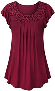 Ladies Solid Tops Plain Shirt Lace Patchwork Ruched Short Sleeve Blouse for Women
