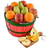 FRESH & DELICIOUS FOOD: This gift basket includes 20 pieces of orchard fruits (3 pears, 4 apples, 9 oranges, and 4 grapefruits). QUALITY GIFT MULTI-PACK: Your gift set arrives in a round, reusable orchard basket, with a steel/wooden handle. Whomever ...