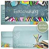 beriluDesign Einschulung Einladungskarten mit Umschlägen (12er Set) zum Schulanfang | Liebevoll...