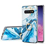 DEFBSC Pour Samsung Galaxy S10e Marble Coque, Glitter Blue Marble Phone Case with 360 degrés Ring...