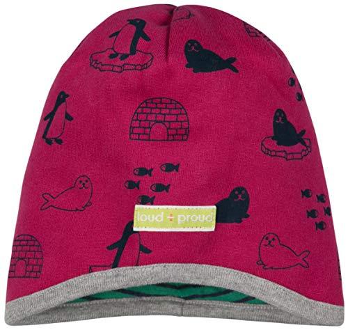 loud + proud Mädchen Wendemütze Mit Druck Aus Bio Baumwolle, GOTS Zertifiziert Mütze, Rosa (Berry Ber), 43/45 (Herstellergröße: 86/92)